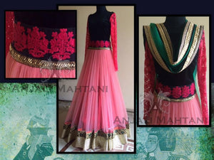 Designer Anarkali Salwar Suit with Embroidery Work- Anjali Pink