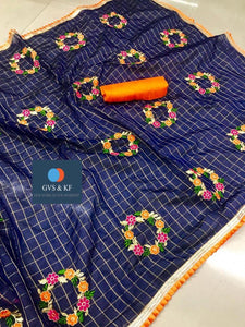 Embroidered Chanderi Cotton Checks Saree MDS-10-Blue