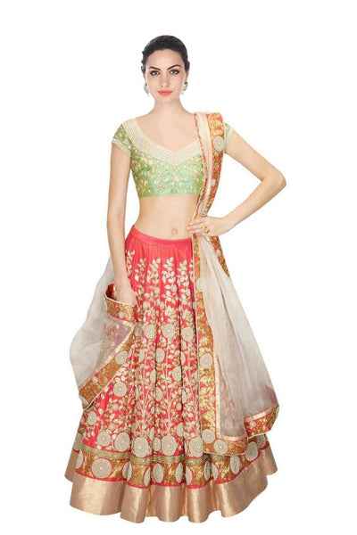 Peach Color Embroidered Semi-stitched Wedding Lehenga Choli
