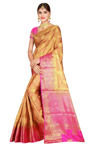 Checks Dholak Biege Color Pure Banarasi Silk Saree