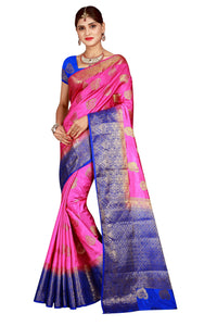 Checks Dholak Blue and Pink Color Pure Banarasi Silk Saree