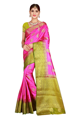 Checks Dholak Mahendi and Pink Color Pure Banarasi Silk Saree