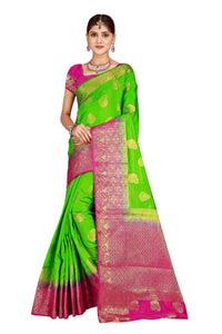 Checks Dholak Parrrot and Pink Color Pure Banarasi Silk Saree