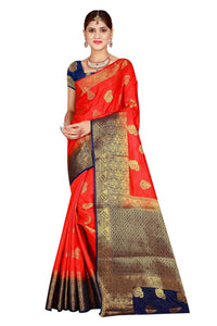 Checks Dholak Red Color Pure Banarasi Silk Saree