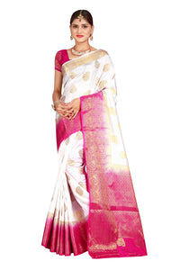 Checks Dholak White Color Pure Banarasi Silk Saree