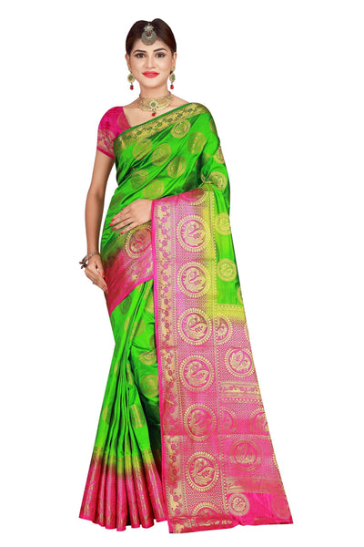 Circle Mor Mahendi Color Pure Banarasi Silk Saree