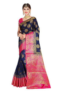 Circle Mor Navy Blue Color Pure Banarasi Silk Saree