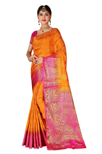 Circle Mor Orange Color Pure Banarasi Silk Saree