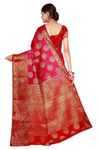 Circle Mor Pink Color Pure Banarasi Silk Saree