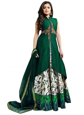 Designer Semi-stitched Party Wear Lehenga Choli- Chameli Green