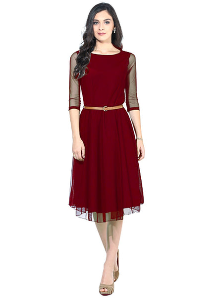 Fancy Designer Maroon Moonlight  Dress