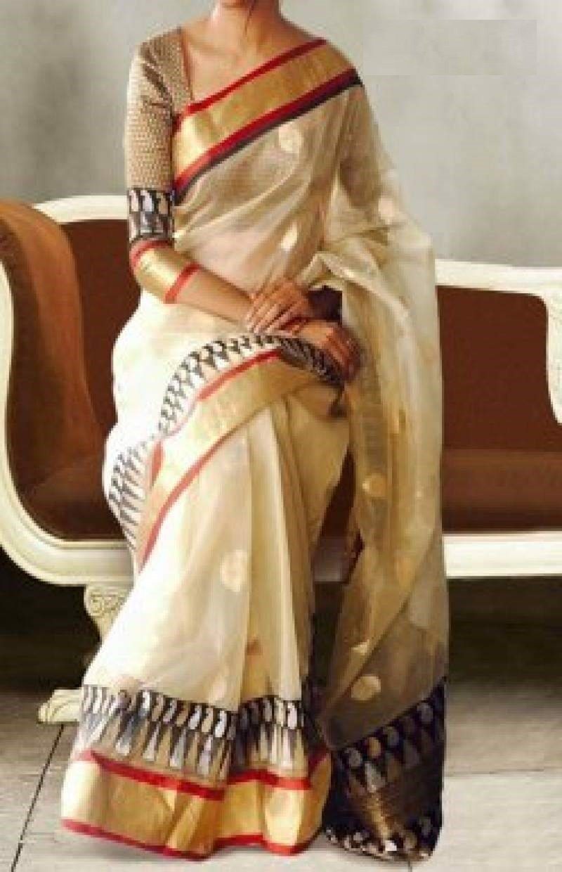 UK Feb Cream colour Pure Soft Silk Designer Saree UK621