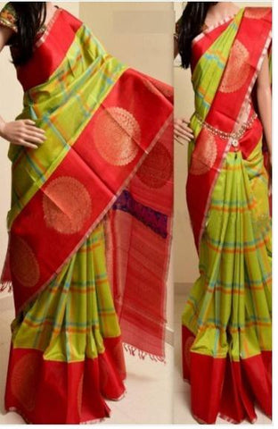 UK Feb Parrot and Red colour Pure Soft Silk Designer Saree UK769