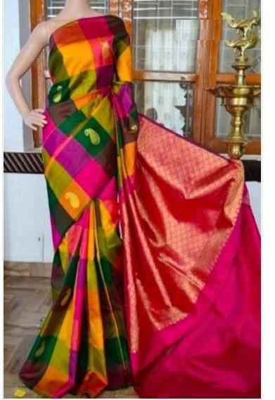 UK Feb Multi Checks colour Pure Soft Silk Designer Saree UK809