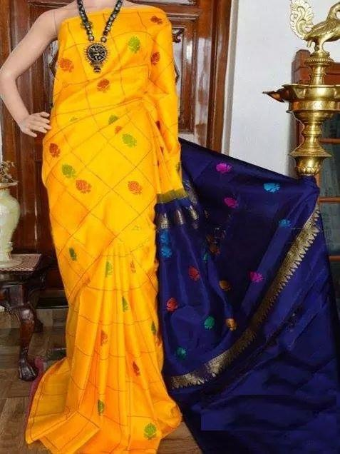 UK Feb Yellow Colour Pure Soft Silk Designer Saree UK904