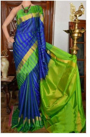 UK Feb Blue Parrot Colour with heavy border Pure Soft Silk Designer Saree UK934
