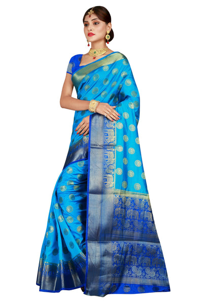 Elephant Border Firozi Color Pure Banarasi Silk Saree