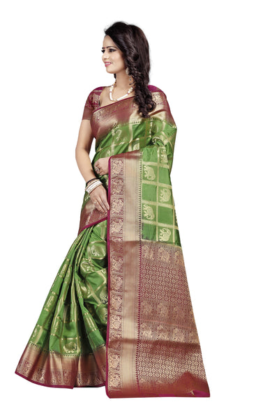 Hathi Patola Mahendi Color Pure Banarasi Silk Saree