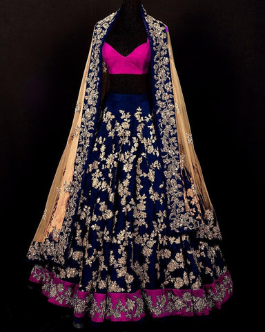 Blue & Cream Heavy Designer Lehnga Choli