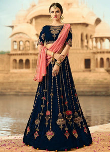 Nevy Blue  Color Embroidered Semi-stitched Wedding Lehenga Choli