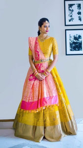 Beautiful Yallow Color Embroidered Semi-stitched Party Wear Lehenga Choli