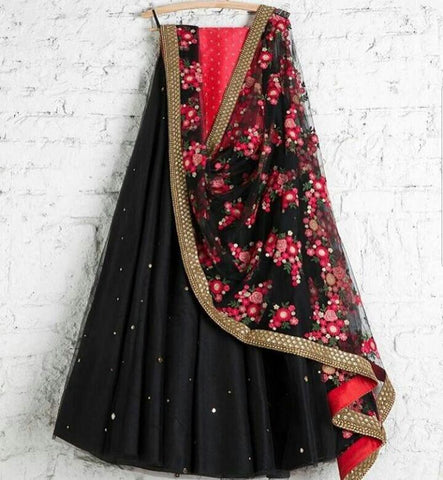 Awsome Black Color Embroidered Semi-stitched Party Wear Lehenga Choli