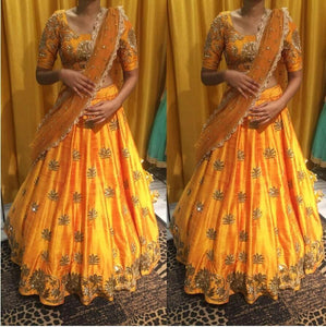 Trendy Yallow Color Embroidered Semi-stitched Party Wear Lehenga Choli
