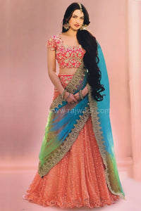 New Look Multi Color Embroidered Semi-stitched Party Wear Lehenga Choli
