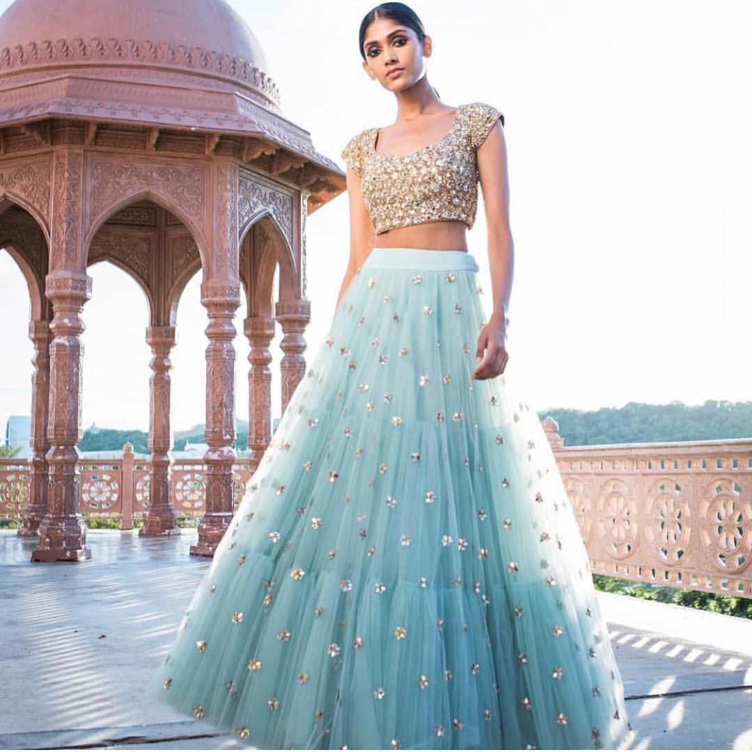 Latest Sky Blue Color Embroidered Semi-stitched Party Wear Lehenga Choli