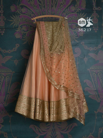 Awsome Peach Color Embroidered Semi-stitched Party Wear Lehenga Choli