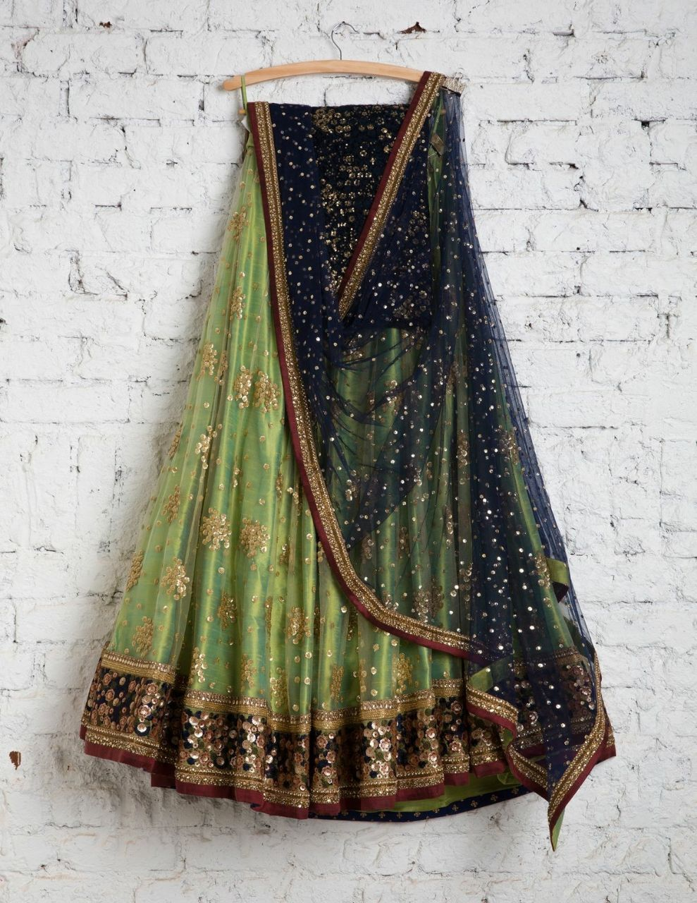 Pretty Light Green Color Embroidered Semi-stitched Party Wear Lehenga Choli