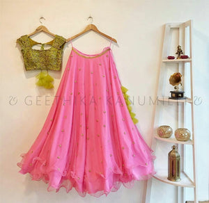 Designer Pink Color Embroidered Semi-stitched Party Wear Lehenga Choli