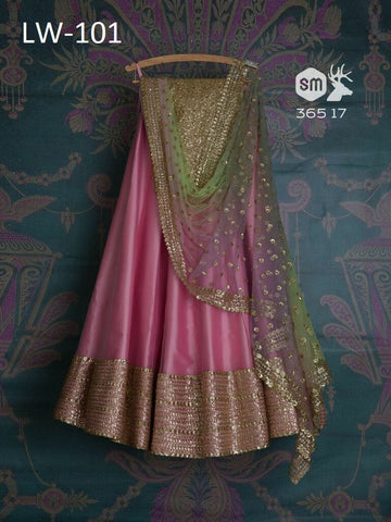 Heavy Pink Color Embroidered Semi-stitched Party Wear Lehenga Choli