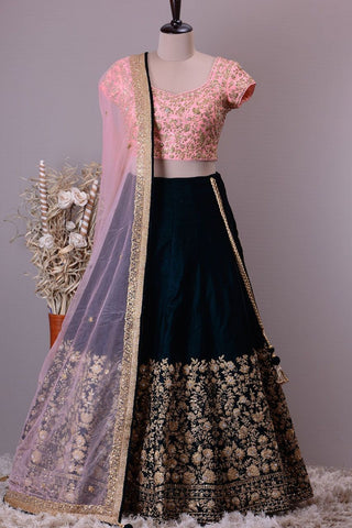 Pretty Black Color Embroidered Semi-stitched Party Wear Lehenga Choli