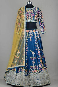 New Look Blue Color Embroidered Semi-stitched Party Wear Lehenga Choli