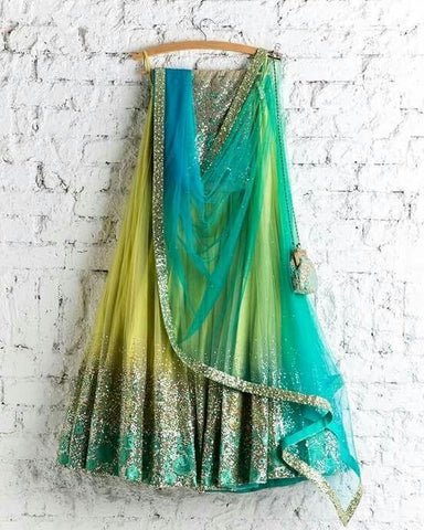 Classic Light Yallow Color Embroidered Semi-stitched Party Wear Lehenga Choli