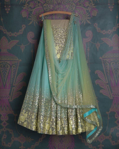 Fancy Sky Blue Color  Embroidered Semi-stitched  Lehenga Choli
