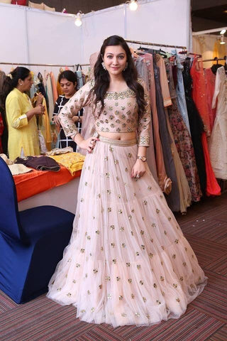 Outstanding Party Wear Cream Color Embroidered Semi-stitched  Lehenga Choli