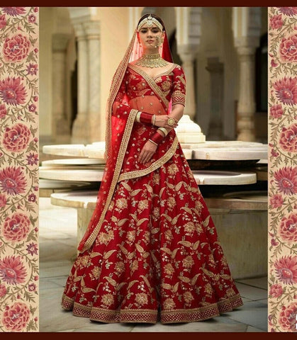 Wedding Designer Malai Satin Embroidered Semi-stitched Lehenga Choli