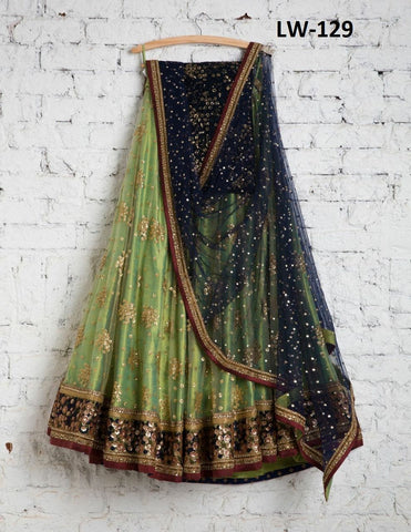 Outstanding Light Green Color  Embroidered Semi-stitched Lehenga Choli
