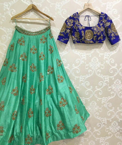 Designer Green Color Embroidered Semi-stitched Lehenga Choli