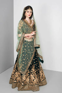 Indian Wedding Dark Green Color Embroidered Semi-stitched Lehenga Choli