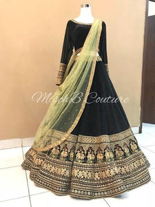 Beautiful Wedding Black Color Embroidered Semi-stitched Lehenga Choli