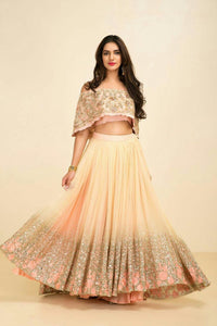 Party Wear Beautiful Cream Color Embroidered Semi-stitched  Lehenga Choli