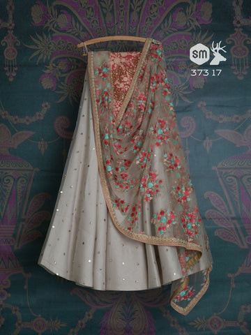 New Look Off White Color Embroidered Semi-stitched Lehenga Choli