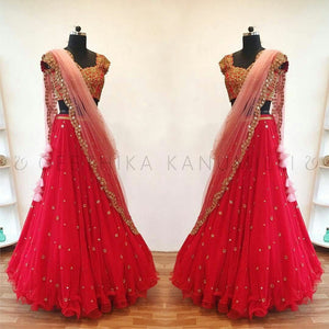 Party Wear Pink Color Embroidered Semi-stitched Lehenga Choli