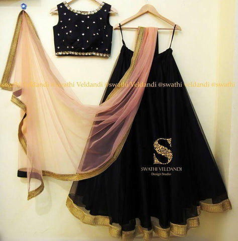 Beautiful Black Color Embroidered Semi-stitched Lehenga Choli