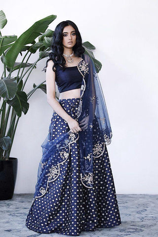 Latest Blue Color Embroidered Semi-stitched Lehenga Choli