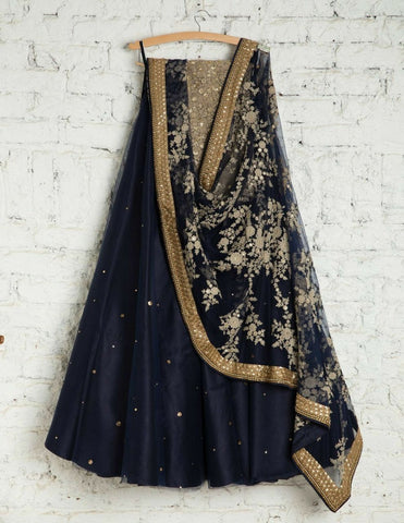 Stunning Nevy Blue Color Embroidered Semi-stitched Lehenga Choli