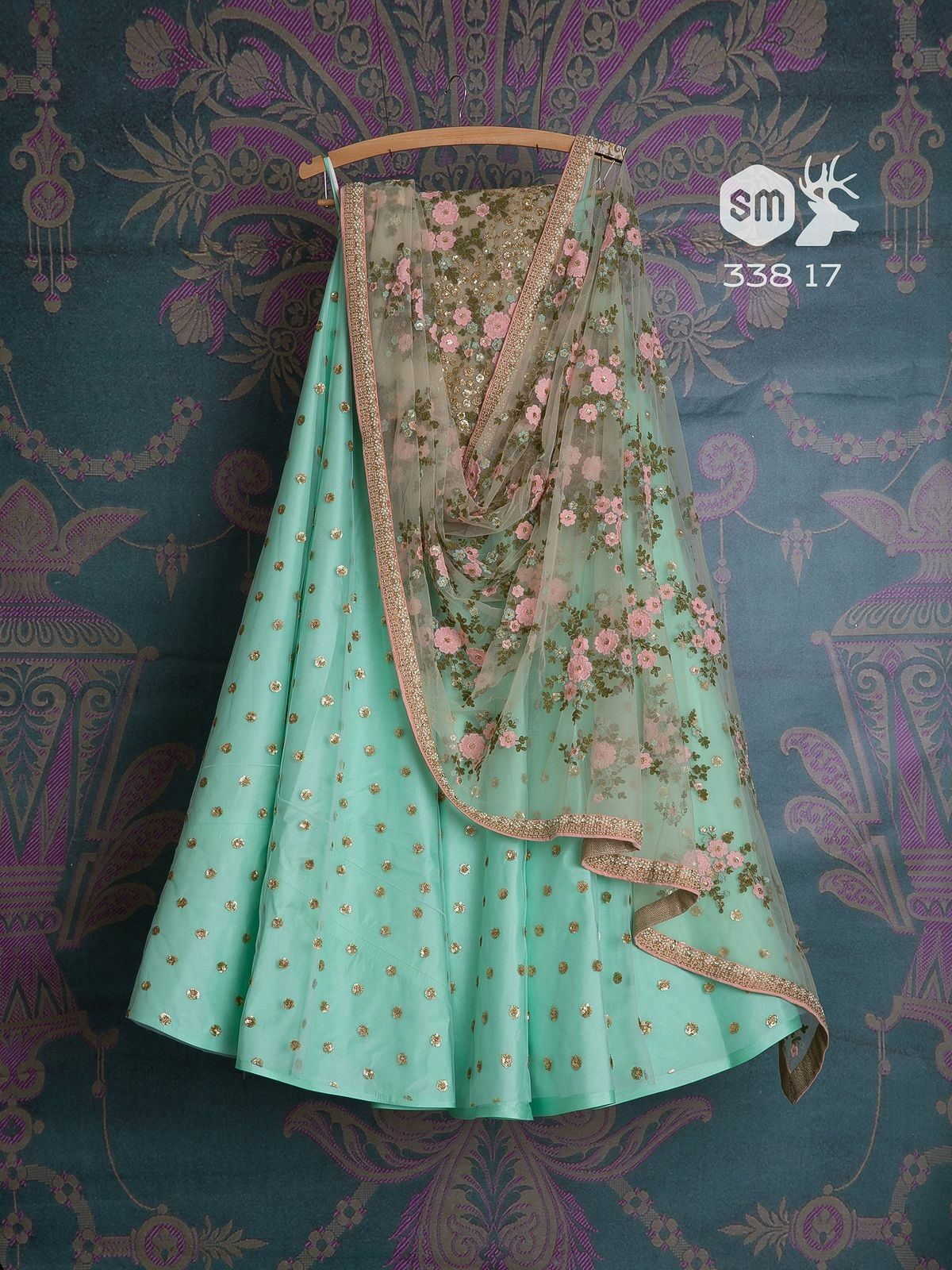 Wedding Designer Pantham Embroidered Semi-stitched Lehenga Choli